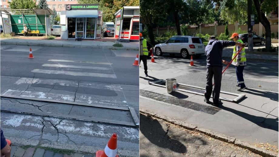 """(foto) """"Cadou orașului Chișinău."""" Mai mulți locuitori ai capitalei au vopsit două treceri de pietoni"""