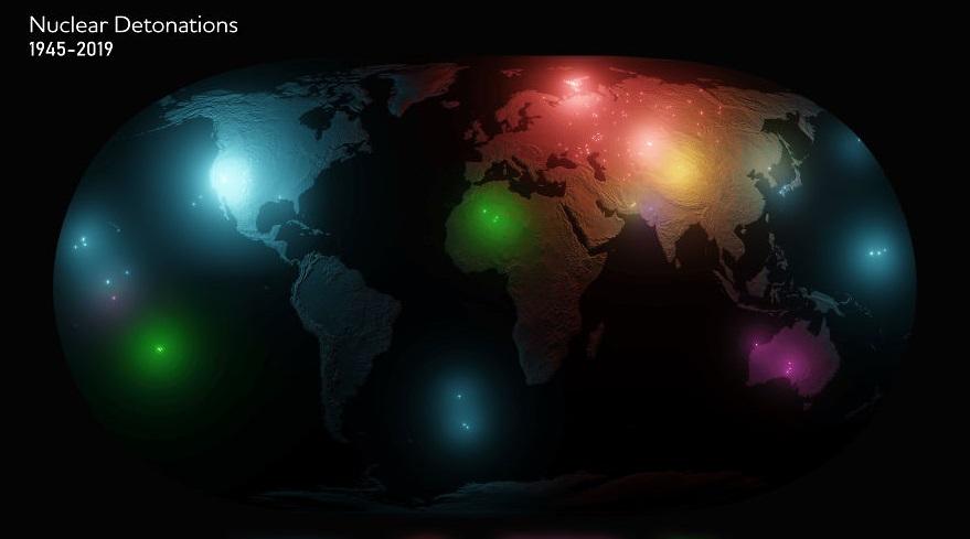 (foto) Harta exploziilor nucleare care au avut loc din 1945 încoace în întreaga lume