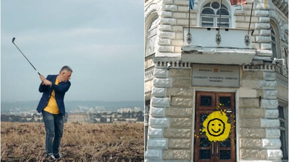 (video) Țintește în Primăria Chișinău cu o crosă de golf. Dumitru Țîra și-a lansat spotul de imagine