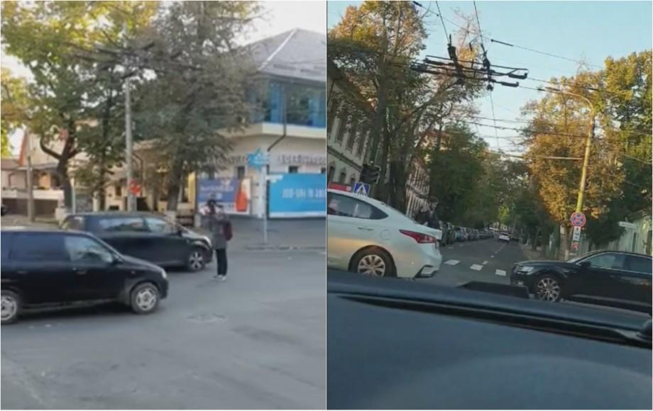 (video) Un cetățean responsabil a gestionat traficul rutier pe o porțiune de drum din centrul Capitalei