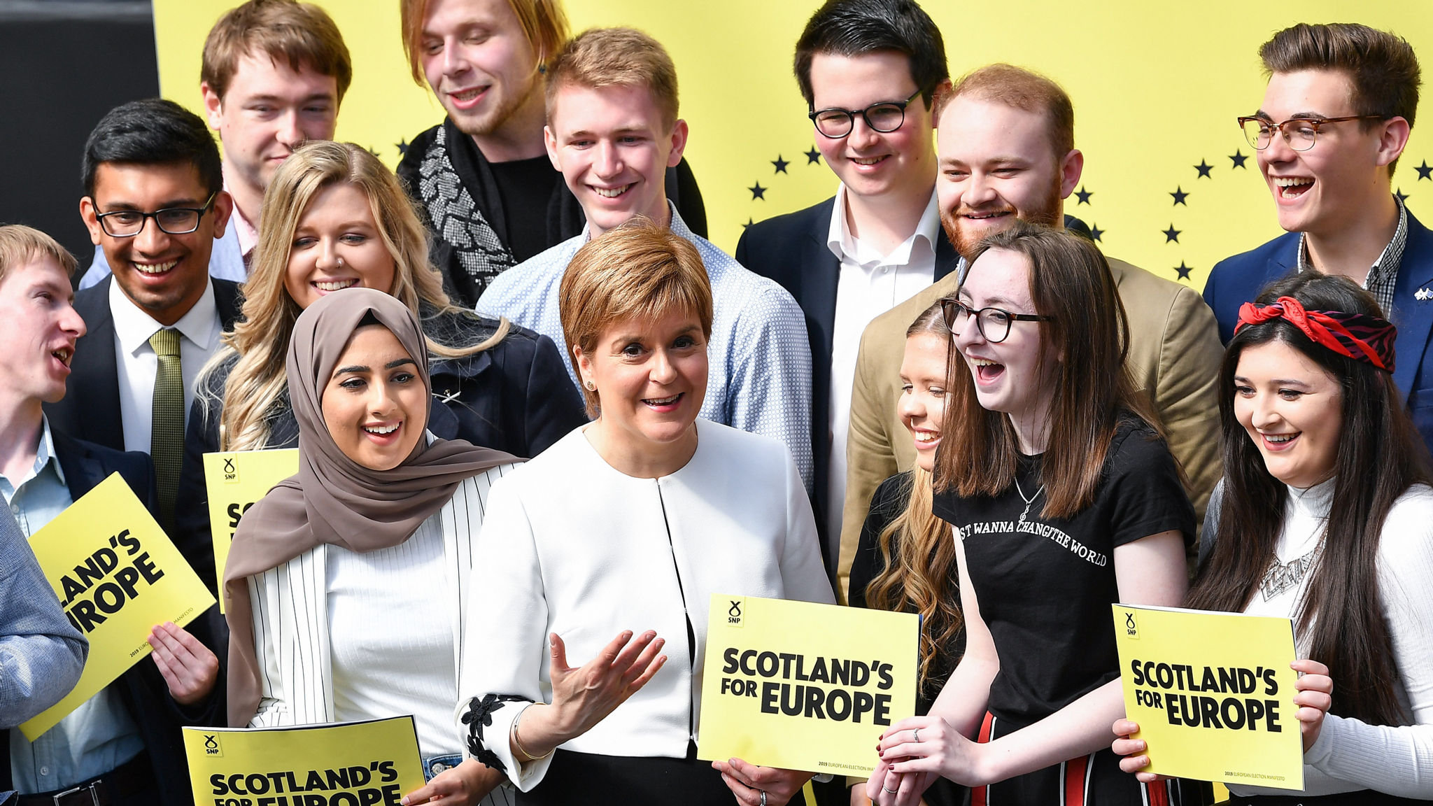 GLASGOW, SCOTLAND - MAY 17: Nicola Sturgeon joins SNP candidates to launch the partys manifesto for the European election Barras Art and Design on May 17 in Glasgow, Scotland. Launching the Scottish National Partys European Parliament election manifesto today, First Minister and party leader Nicola Sturgeon made clear that next weeks vote is a chance to reassert Scotlands opposition to Conservative plans to take the country out of the EU against its will, and to stop Brexit in its tracks. (Photo by Jeff J Mitchell/Getty Images)