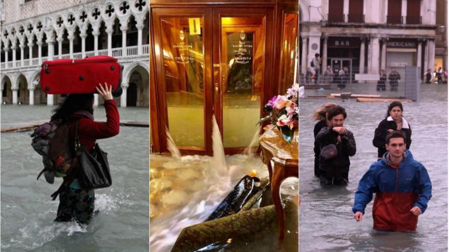 """(foto) """"Acesta este rezultatul schimbărilor climatice."""" Veneția este inundată, nivelul apei a ajuns la 187 de centimetri"""