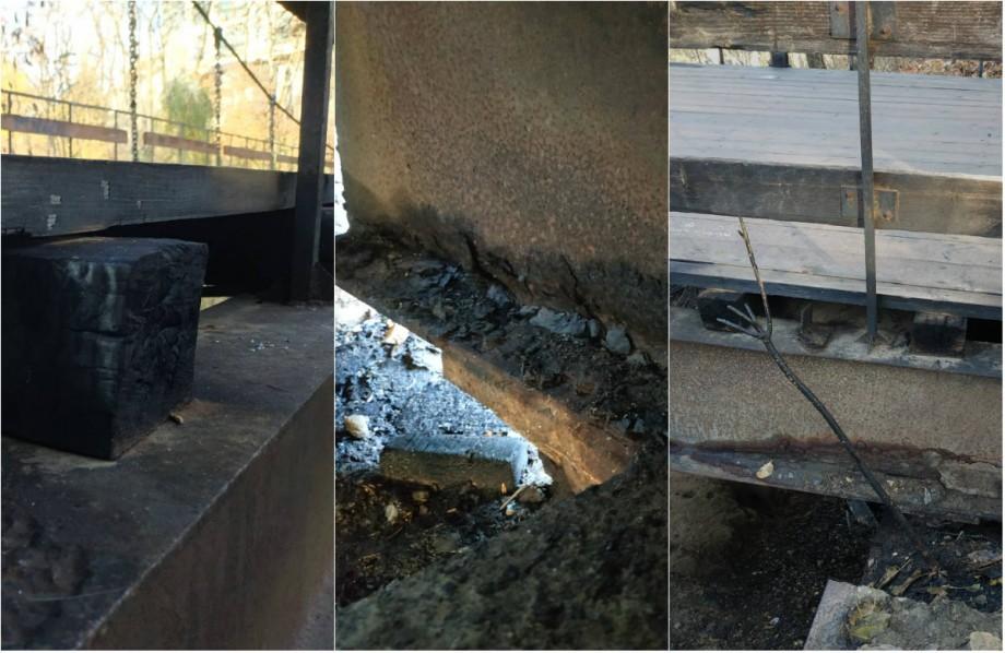 """(foto) Un incendiu a avut loc în parcul Valea Trandafirilor. Flăcările au afectat podul """"Îndrăgostiților"""""""