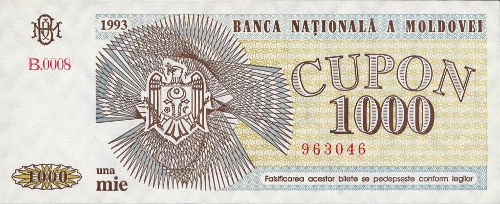 cupon 1000 Moldova 1993