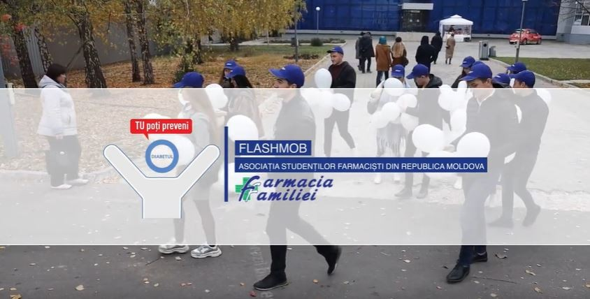 (video) De Ziua Mondială a Diabetului, Farmacia Familiei a organizat un flashmob împreună cu Asociația Studenților Farmaciști din Republica Moldova
