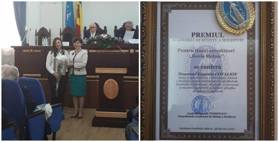 """Eugenia Covaliov, doctoră în științe tehnice la UTM, a obținut Premiul AȘM """"Boris Melnic"""""""
