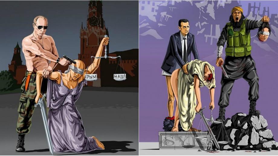(foto) Ilustrații satirice care relevă situația cum liderii politici subjugă justiția