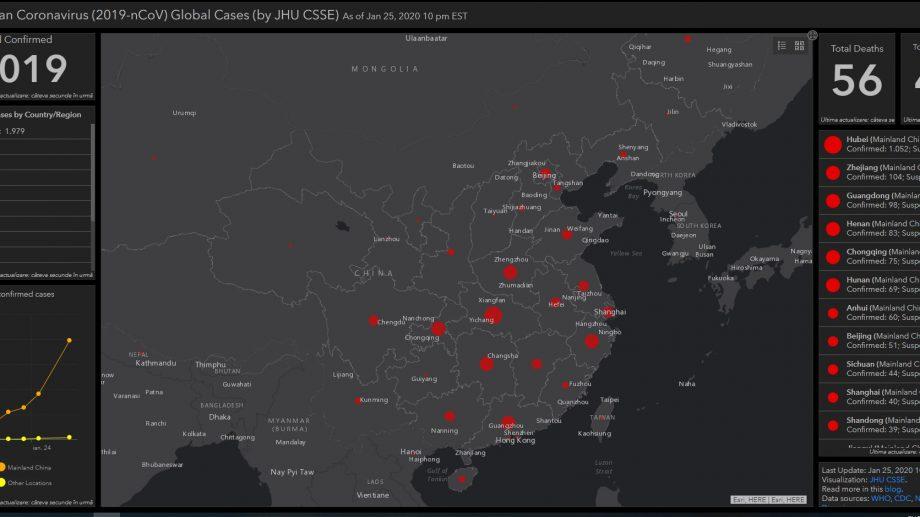 (hartă) Un grup de profesori din China a realizat o hartă care prezintă live răspândirea coronavirusului din Wuhan