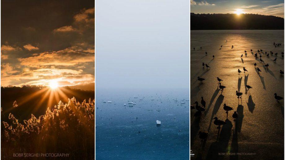 (foto) Cer de foc și lac de gheață. Cum se vede iarna la Valea Morilor prin obiectivul fotografului Serghei Bobr