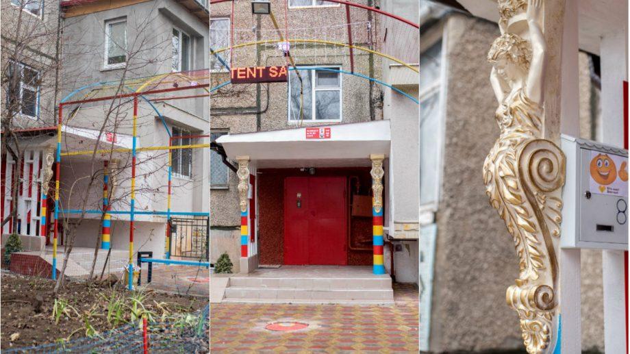 (foto) Curți din Chișinău. Descoperă cea mai patriotică intrare în bloc din sectorul Botanica al capitalei