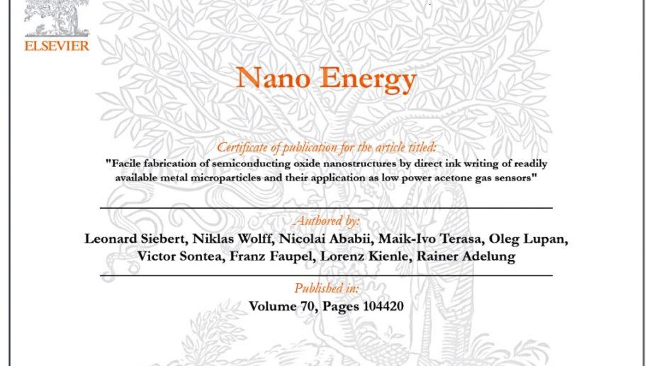 """Premieră științifică la UTM, publicată în """"Nano Energy"""" cu factor de impact 15,5"""