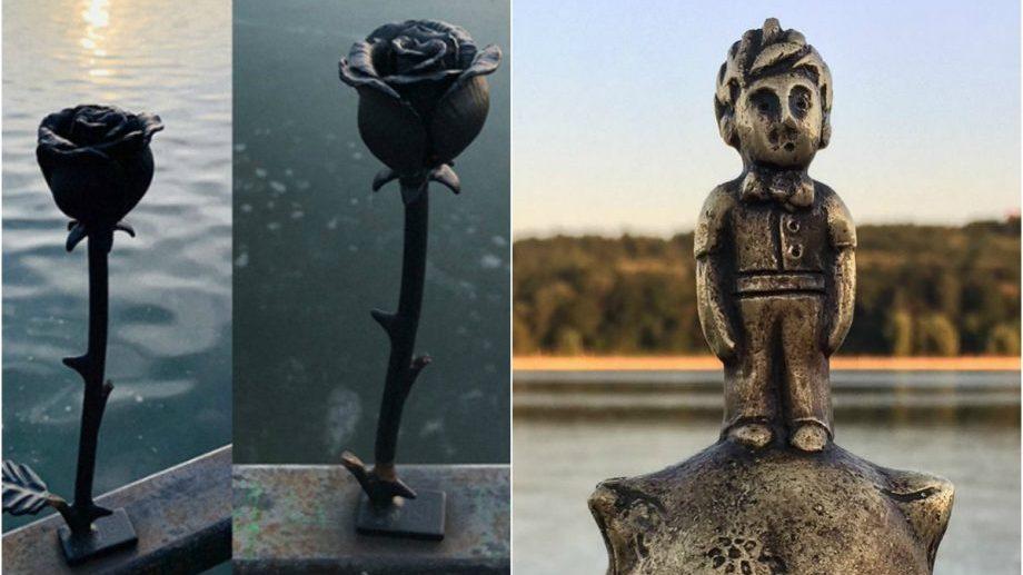 (foto) Roza Micului Prinț a revenit înflorită la Valea Morilor. Un necunoscut a instalat trandafirul în locul celui furat