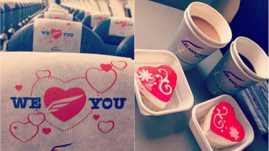 (foto) Prăjituri în formă de inimioară și băutură caldă. Air Moldova declară iubire tuturor pasagerilor