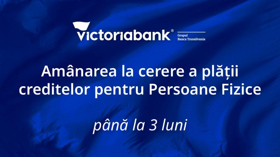 Măsurile anunțate de Victoriabank pentru clienții persoane fizice cu unele tipuri de credite de nevoi personale și imobiliare