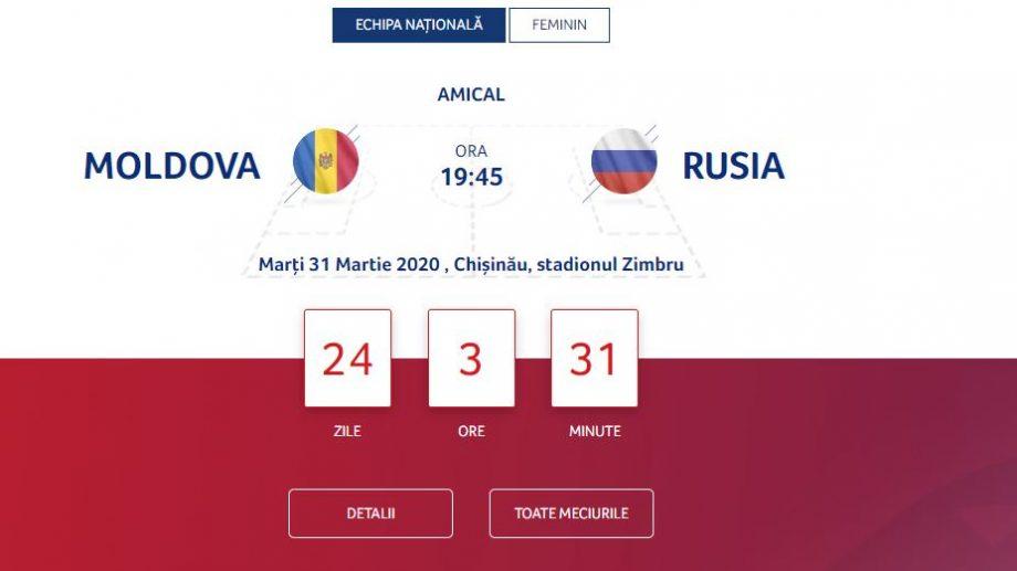 Când vor apărea în vânzare biletele pentru meciul amical Moldova – Rusia și cât vor costa acestea