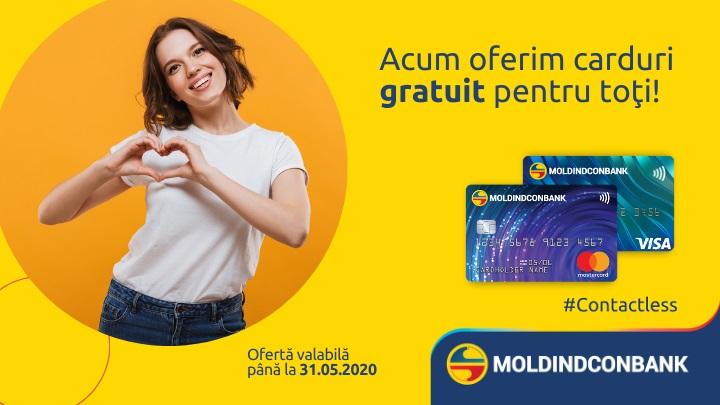 Acum, Moldindconbank oferă carduri gratuite pentru toţi