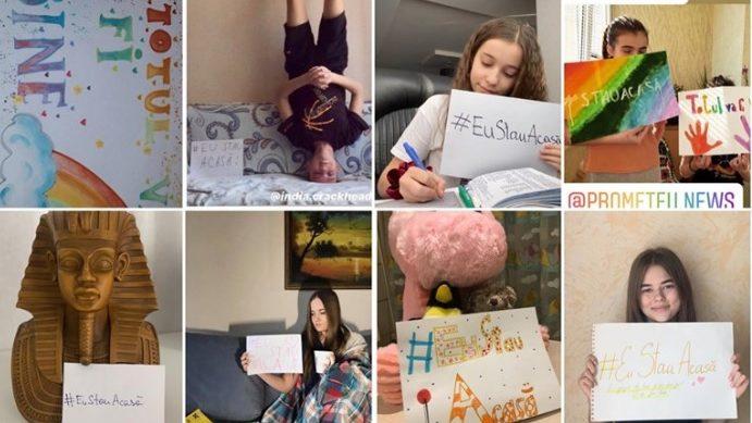 """(foto) Printre cărți, desenând curcubeie. Elevii liceului """"Prometeu-Prim"""" te îndeamnă să stai acasă"""