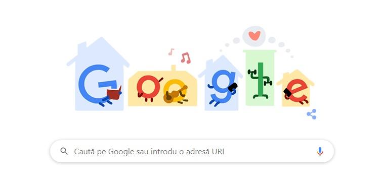 (foto) Google îndeamnă utilizatorii să stea acasă, printr-un doodle special