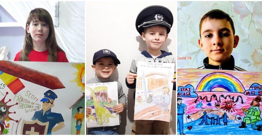 (foto) Copiii polițiștilor de frontieră au realizat o serie de desene în susținerea angajaților MAI