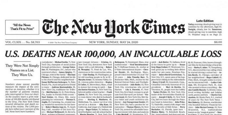 """(foto) """"O pierdere irecuperabilă."""" Cotidianul american The New York Times a pus pe prima pagină numele persoanelor decedate din cauza COVID-19"""