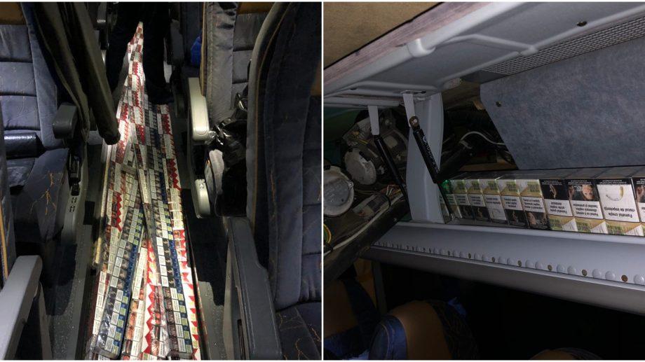 (video) Vameșii au depistat 40 000 de țigarete în sistemul de ventilație al unui autocar