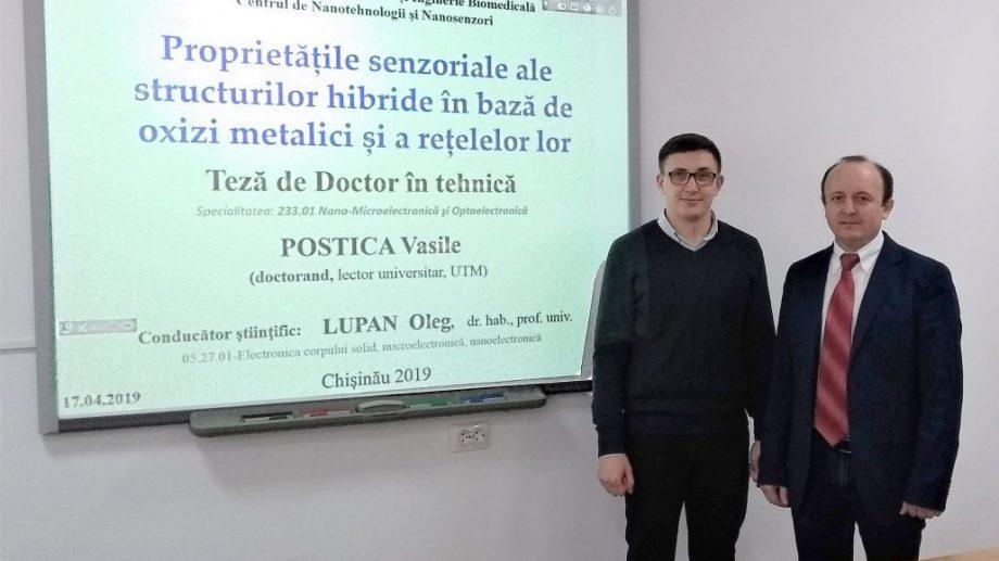 Vasile Postica a susținut teza de doctor, elaborând procedee tehnologice pentru fabricarea peliculelor columnare de ZnO
