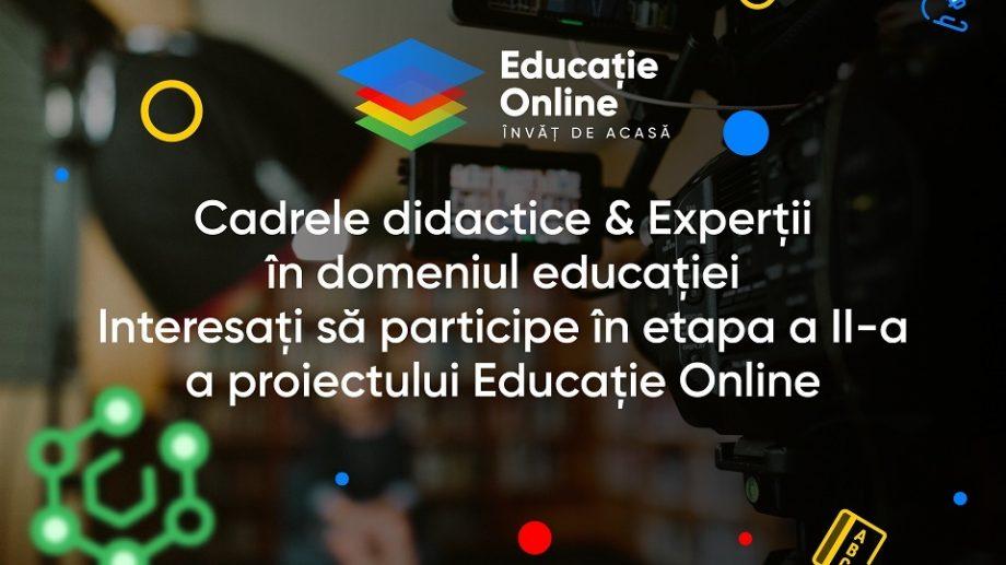 Cadrele didactice din țară sunt invitate să participe în etapa a II-a a proiectului Educație Online