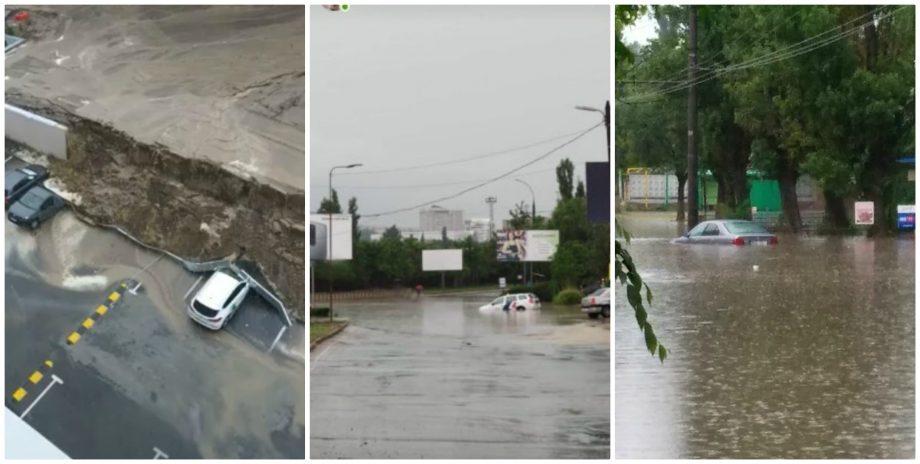 """(foto) Străzi inundate, mașini deteriorate și pereți căzuți. Ceban: """"Municipalitatea nu are capacitatea să facă față"""""""