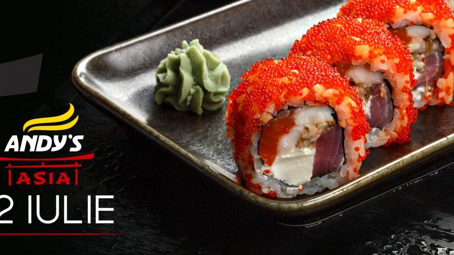 O selecție uriașă de role și tempura! Din 2 iulie, începe o mare călătorie culinară cu Andy's Asia