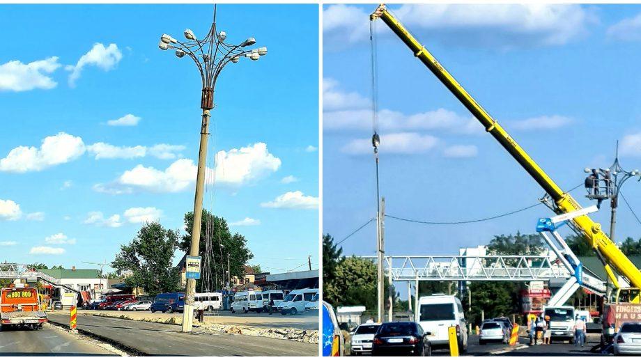 (foto) Povestea pilonilor de electricitate din Strășeni s-a terminat. Aceștia au fost scoși din mijlocul drumului