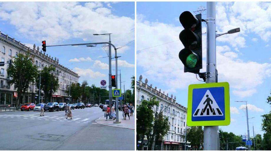 A fost conectat semaforul de pe una dintre cele mai aglomerate intersecții din centrul Chișinăului